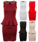 Ladies Gold Stud Peter Pan Collar Frill Peplum Shift Bodycon Women's Dress 8-14
