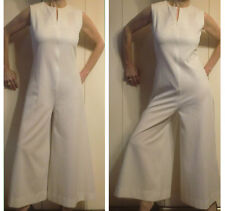 HIPPIE BOHO semi-SHEER WHITE BELLBOTTOM Front Zipper JUMPSUIT flared pants S XS