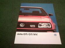 JULY 1988 / 1989 MODEL YEAR VW JETTA GTi 8 & 16 VALVE 8v 16v - UK 20pg BROCHURE