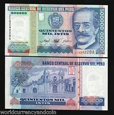 PERU 500000 500,000 INTIS P-147 1989 *REPLACEMENT 1/2 Million UNC CURRENCY NOTE
