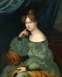 """Classic Oil painting female portrait young noblelady in green dress seated 36"""""""