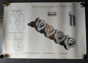 ORIGINAL LUCAS ELECTRICAL POSTER FLASHER LIGHT RETRO CLASSIC CAR MANCAVE GARAGE