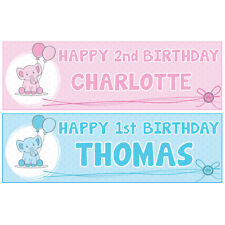 2 Personalised Balloon Birthday Banners 1st 18th 21st 40th 50th Any Name Age
