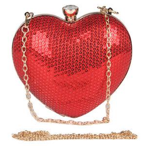 Red Sequins Heart Evening Bag