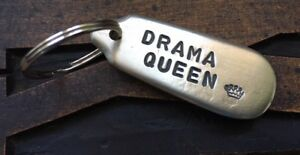 Drama Queen - Handmade Antique Spoon End Keyring Fob Best Friend Gift