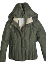 Women's Military Green Puffer Quilted Down Fur Trim Jacket Calvin Klein Xs Hood