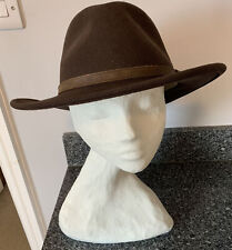 Flex Felt Hat Water Repellant Wool Brown Fedora XL Extra Large Leather Hatband