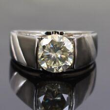 2ct Round Brilliant Cut Off White Diamond Solitaire Unisex Engagement Ring