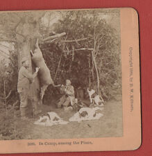 """""""B.W.KILBURN""""  STEREOVIEW- IN CAMP AMONG THE PINES.1889."""