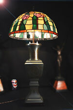 Art deco 1940s desk lamp stepped base reeded Column Geometric Opaline Shade