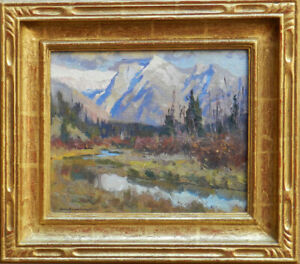 "Kevin Macpherson ""Vermillion Lakes Canada Banff"" Oil signed gold leaf frame"