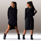 femme hiver pull robe irrégulière Pull-over Sweat capuche poches PULL