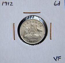 Australia 1912 6d Sixpence KGV Silver 92.5% - VF