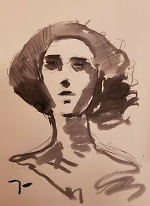 """JOSE TRUJILLO - ABSTRACT EXPRESSIONISM INK WASH 18X24"""" PORTRAIT COLLECTIBLE"""