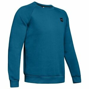 Under Armour Mens Rival Fleece Crew Neck Sweat/Jumper Gym Pullover Teal Vibe
