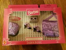 BARBIE Doll FASHION AVENUE ACCESSORIES SET PURPLE HAT BAG GLASSES HEELS 20963