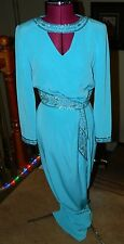 Vintage Oleg Cassini Black Tie Turquoise Gown Dress Beaded Small Size 6 VGPOC