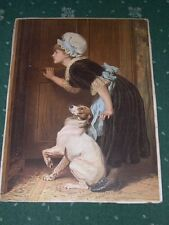 RARE VERY LARGE ANTIQUE JACK RUSSELL TERRIER COLOUR DOG PICTURE 1890