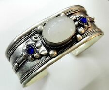 Unisex White Moonstone bead Cuff Bracelet Bangle Old Tibet Silver Carved gift