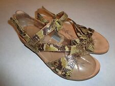 EASY SPIRIT BROWN LEATHER FAUX SNAKESKIN SLINGBACK SANDALS SZ 9.5 M.`VERY CLEAN