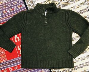 Vtg Patagonia 100% Lambswool 1/4 Button Sweater Dark Green Pullover Wool Large