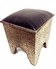 Moroccan Tribal Stool Bench Traditional Carved Metal Arabic Black Top Low Seat