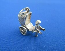 VINTAGE 925 STERLING SILVER CHARM A MAN PULLING A RICKSHAW CARRIAGE