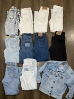 11pc Lot Youth 10/12 Vintage Denim Esprit Levis USA Chic Lee Acid Wash Jeans Kid