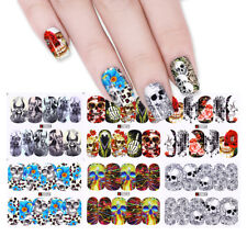 12 Patterns Nail Water Decals Halloween Skull Flower Nail Art Transfer Stickers