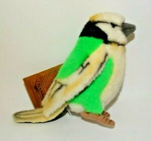 New Hansa Life Like Sized Handmade Stuffed Animal Yellow Green Birdie Bird 5""