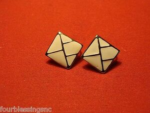 """OFF WHITE ENAMEL EARRINGS WITH GOLD TONE TRIM-CLIP ON-5/8"""" SQUARE-RETRO/CHIC"""