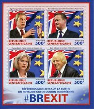 Central African Rep Stamps 2016 MNH Brexit Nigel Farage Boris Johnson 4v M/S