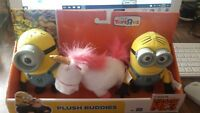 despicable me  plush buddies, FLUFFY, UNICORN CARL& DAVE..TOY R US. BRAND NEW