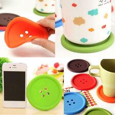 4*Cute Silicone Button Shape Tea Cup Holder Coaster Pad Cushion Placemat Mat