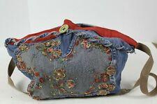 Denim Jean Purse Shoulder Bag Hand Made Decorative Mesh & Beadwork Flower