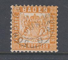 Baden Sc 25, Mi 22b used 1862 30k deep orange Coat of Arms, Cert.