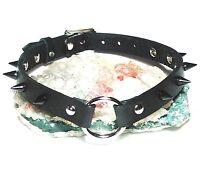 Leather O-Ring Choker Black Cone Stud Spiked  Necklace Gothic punk Handmade UK