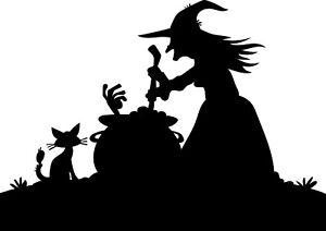 Window Wall Display Happy Halloween Witch & Cauldron Silhouette Vinyl Sticker