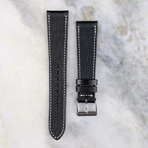 Genuine Goatskin Leather Watch Strap - Black - 18mm/19mm/20mm
