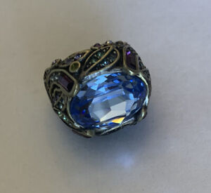 Gorgeous Heidi Daus Retired Peacock Cocktail Ring - Chinky Dome - Size 5