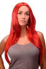 Qualité Perruque Rouge Rouge Vif Lisse Raie au Milieu Raie 80 Cm Longue 3217-137