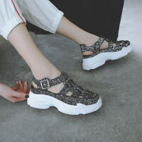 Women's Buckled Sandals Wedge Platform Slingbacks Shiny Casual Outdoor Shoes