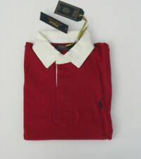 NEW Ralph Lauren Mens LS Solid Red Iconic Rugby Cotton Shirt Sz Medium NWT $99