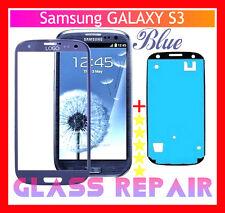 VETRO GLASS Ricambio BLU BLUE +BIADESIVO 3M x SAMSUNG GALAXY S3 I9300 I9301I Neo