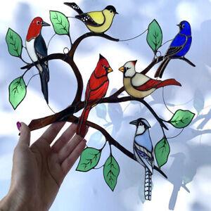Stained Glass Bird Window Hanging Suncatcher Hanging Birds Pendant Decors