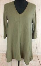 pure jill womens size small tunic top 3/4 sleeve oilve green asymmetrical boho