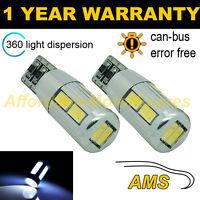 2X W5W T10 501 Canbus Libre de Errores Blanco 10 SMD Bombillas LED Luz Lateral