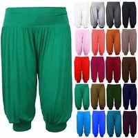 New Ladies Plain 3/4 Ali Baba Harem Baggy Leggings Shorts Cuffed Pants Trousers