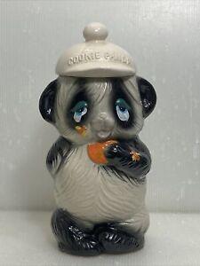 Vintage Ceramic Panda Bear Cookie Jar Bee Hive Stung 12''