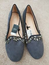 New with tags NEXT GREY SUEDE jewel BALLERINA FLAT SHOES SIZE UK 4 eu 37